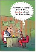 Santa Penicillin Funny Christmas Card by NobleWorks and Gus Pack of 12