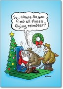 Hunter Flying Reindeer Card