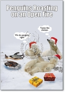 Penguin Roasting Open Fire Card
