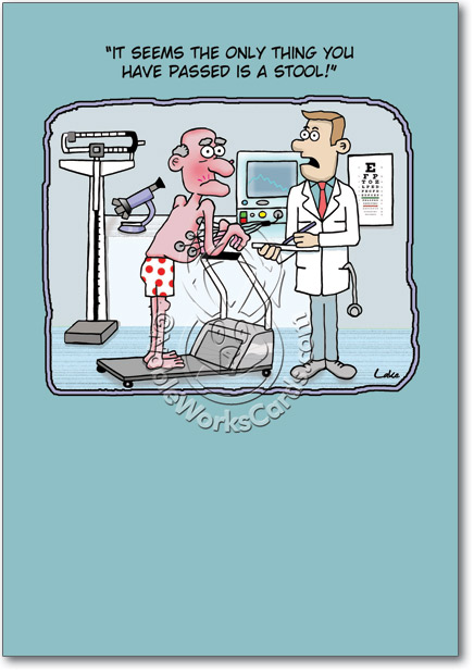 passed a stool old man exercise cartoons birthday paper card lake, Birthday card