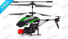 V398 3.5 Channel Missile Shooting Metal RC Helicopter RTF with Six Missiles rapid fire (Green)