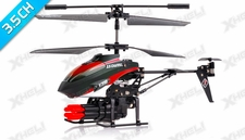 V398 3.5 Channel Missile Shooting Metal RC Helicopter RTF with Six Missiles rapid fire (Red)
