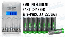 8-Pack AA 2200mAh NiMH Rechargerable Battery+1 Hour Fast Charger