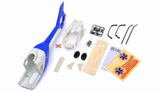 EC135 450 Pre-Painted Glass Fiber Fuselage for 450 size Helicopters w/ Magnets (Blue/White)