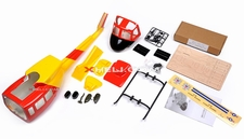 U1 450 Pre-Painted Glass Fiber Fuselage for 450 size Helicopters w/ Tail Extension & Magnets (Red/Yellow)