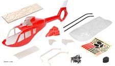 EC135 450� Pre-Painted Glass Fiber Fuselage for 450 Size Helicopters Red/White