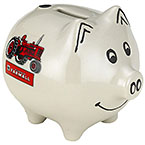 Farmall White Piggy Bank with Tractor Picture