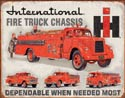 International Fire Truck Chassis Metal Sign
