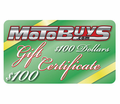 MOTOBUYS $100 GIFT CERTIFICATE - Free Shipping - Lowest Price Guaranteed!  --- E-CERTIFICATES Available in $10 to $500 Gift Amounts!!
