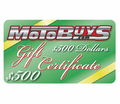 MOTOBUYS $500 GIFT CERTIFICATE - Free Shipping - Lowest Price Guaranteed!  --- E-CERTIFICATES Available in $10 to $500 Gift Amounts!!