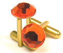Fire Red Cuff Links - Gold