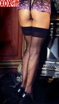 Womens Sheer Thighs High With Rhinestone Backseam EM 1728