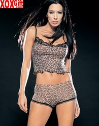 Opaque Leopard Cami & Short Set With Lace Trim LA 8230