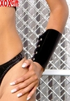 Pair Of Black PVC Vinyl Lace-Up Arm Guards EM V9229