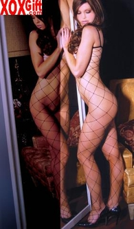 Women's Plus Size Crotchless Bodystocking With Large Diamond Net Holes! EM 1622Q