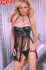 Black Leather Halter Babydoll With Fringe & G-String Lingerie Set EM L8122
