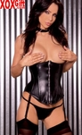 Black Leather Cupless Strapless Corset With Boning EM L3114