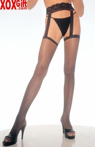 Fishnet Thigh High Stockings With Attached Lace Garterbelt LA 1656