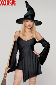 Lace & Sequin Trimmed Witch Costume With Hat 2 Pc Set LA 83030