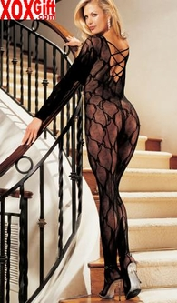 Crotchless Lace Criss-Cross Back Bodystocking R 0006