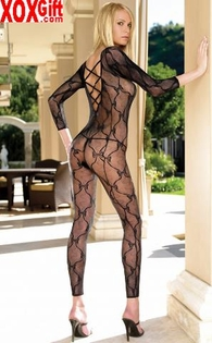 Bow Lace Footless Open Crotch Bodystocking With Criss-Cross Back LA 8678
