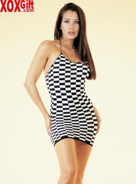 Checkerboard Halter Mini Dress LA 8286