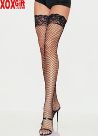 Stay Up Lycra Industrial Fishnet, Lace Top, Thigh High Stockings LA 9201