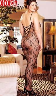 Plus Size Crotchless Bodystocking In Black Stretch Flower Lace Mesh X96621