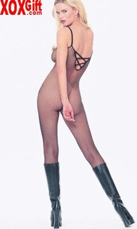 Plus Size Crotchless Bodystocking In Seamless Fishnet LA 8728Q