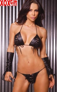 Women's Plus Size Black Leather Lace-Up String Bra And G-String Two Piece Set. EM L1110X
