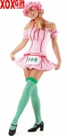 Strawberry Shortcake Girl Costume With Striped Stockings LA 8411