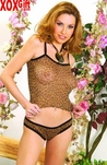 Plus Size animal print stretch mesh camisole & matching thong back panty EM 0180X