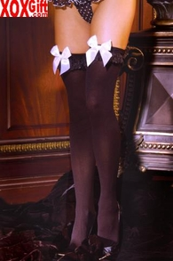 Plus Size Womens Opaque Thigh Highs With Chiffon & Bows EM 1718Q