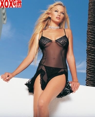 2 Pc Sheer Chemise With Lace Cup & Lace Trimmed Slits Plus G-String LA 8597