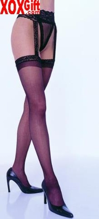 Sheer Thigh High Stockings With Lace Garterbelt EM 1767