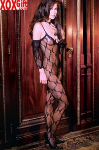 Plus Size Womens Open Crotch Bow Tie Lace Bodystocking EM 1604Q