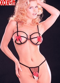 SALE!!! Risque Sexy Birdcage Bra, Crotchless & Open Front Panty Bikini Set  R 6409
