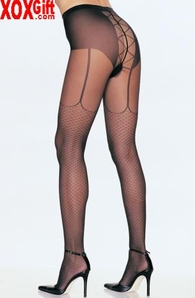 Sheer Pantyhose With Mock Lace Up & Garterbelt & Mock Net LA 7520