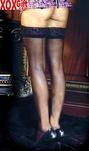 Womens Sheer Stockings With Lace Top & Backseam EM 1702