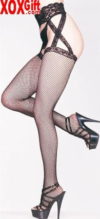 Lace Criss Cross Fishnet Garterbelt Stockings LA 1655