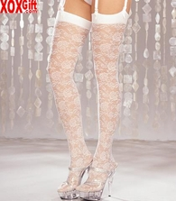 Rose Floral Pattern Thigh High Stockings 6628
