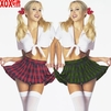 Plaid School Girl Outfit.  Classic Adult Fantasy Costume 2 Pc Set LA 8879
