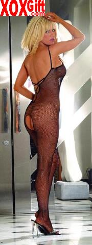 Crotchless Bodystocking In Seamless Fishnet With Strappy Low Cut Rear EM 8728