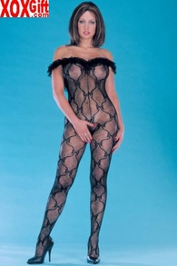 Plus Size Womens Open Crotch Bow Lace Bodystocking EM 1607Q
