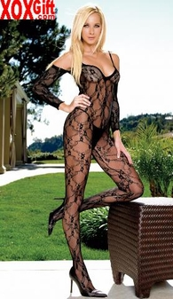 Floral Lace Open Crotch Bodystocking With Attached Sleeves LA 8046