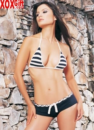 Knitted Striped Bikini Top & Boy Shorts Set LA 81027
