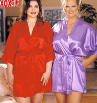 Plus Size Kimono Charmeuse Bath Robe Queen Sized Sexy Lingerie By Shirley X8465