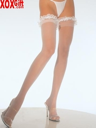 Bridal Garter Wedding Lace Ruffle Top Sheer Thigh High Stockings  LA 9200