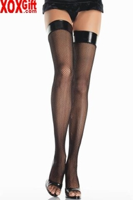 Lycra Fishnet Thigh High With Vinyl Top LA 8291