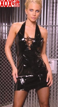 Deep V vinyl lace up the front mini dress With collar and rivets EM V8120